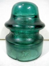 Antique Glass Insulator Star CD-164 [010] Green Aqua OPEN BUBBLE AIR POCKET RARE