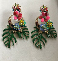 Vintage Palm Flowers Statement Large Drop Earrings