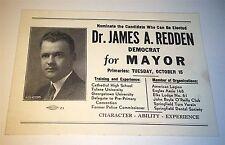 Rare Antique American Mayoral Political Dr. James A Redden Democrat Card Picture