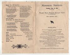 RARE 1902 CIVIL WAR Memorial Service Program NEW BEDFORD MASSACHUSETTS Methodist