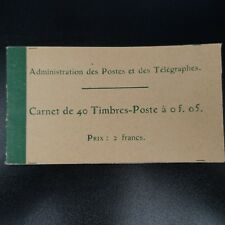 CARNET 137-C 3 / 40 TIMBRES SEMEUSE N°137 5 cts VERT NEUF ** LUXE MNH