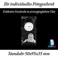 3D Standuhr Glas Quader Kristall Geschenk Foto Graviert Glasfun 50x95x35 mm