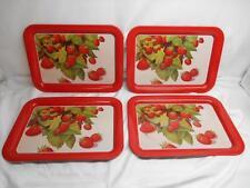 Old Vtg Strawberry motif METAL SERVING T.V. TRAYS Lap Snack Tray set 4
