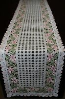 Embroidered Cutwork Lace Floral Placemat Runner Wedding Banquet Dining Party