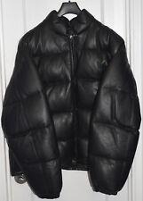 Men's-Schott-Lambskin-Leather-Goose Down-Bubble-Jacket-Coat-Blk-52-2XL-XXL-NWOT