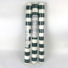 Wallpaper Carey Lind York Green White Striped Gold Detail Double Rolls LOT OF 3