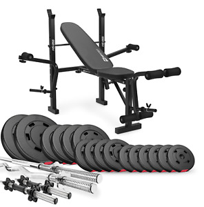 Premium 75 kg Bodybuilding Set with Foldable Bench for Home Gym