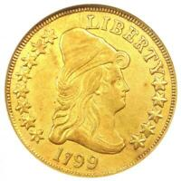 1799 Capped Bust Gold Eagle $10 - Certified ANACS AU Details - Rare Coin!