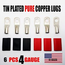 6 PCS - 4 GUAGE 4 AWG TINNED COPPER LUG BATTERY CABLE AND HEAT SHRINK