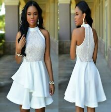 Sz 12 14 White Skater Lace Sleeveless Formal Gown Cocktail Party Sexy Chic Dress