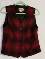 Woolrich Womens Red Black  Buffalo Plaid Wool Vest Pockets Made in USA Size M