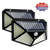 114 LED Solar Power PIR Motion Sensor Wall Lights Outdoor Garden Security Lamps