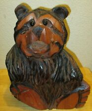 """Wood Carving Bear Sitting Down Approx. Approx. 13"""" tall by 10"""" wide"""