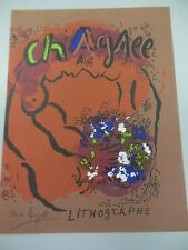 """MARC CHAGALL HAND SIGNED LITHOGRAPH IN BLACK PENCIL """"LITHOGRAPHE"""" 1960s COA"""