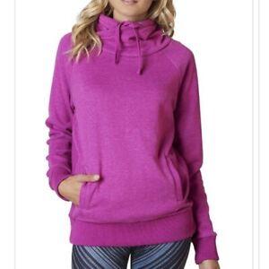 Prana Size S Gotu Pullover Organic Cotton Fleece Sweatshirt In Purple W/ Pockets