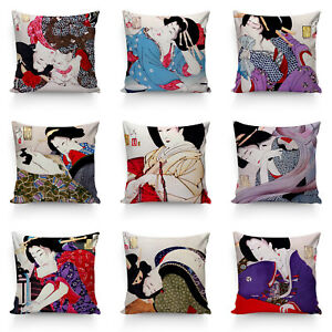 Ukiyo-e Geisha High Quality Silk Pillow Cushion Cover Case Japanese Art Decor