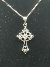 """Sterling Silver Ladies Celtic Cross With CZ Pendant With 18 or 20"""" Silver Chain"""