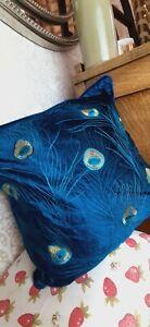 Peacock blue embroidered velvet scatter cushion