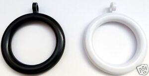 Curtain Rings Black or White - 35mm Inner Dia, 52mm Outer Dia  Various pack Qty