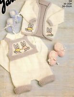 baby jacket and romper dk knitting pattern 99p