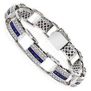 Cyber Monday 4.35CT NATURAL DIAMOND 14K WHITE GOLD BLUE SAPPHIRE BRACELET