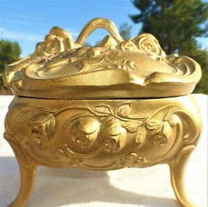 Victorian Gold Tone Metal Footed Jewelry Box Chest Scroll Flower Floral Vintage