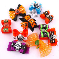 20/100pcs Halloween Pet Puppy Cat Dog Hair Bows Rubber Band Grooming Accessories