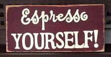 ESPRESSO YOURSELF Coffee Bean Decor Wall SIGN PLAQUE JaVa Wooden U Pick Color HP