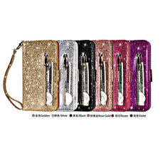 For Samsung LG iPhone 11 Leather Wallet Glitter Bling Zipper Stand Case Cover