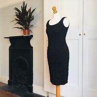Vintage 90s Black Tight Stretchy Textured Sheath Dress 10 12
