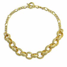 Round Chain Link Fashion Statement Chain Necklace Yellow 14K Gold Plated Brass