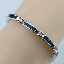 925 Sterling Silver Blue Sapphire & White Topaz Rectangular Tennis Bracelet 7""