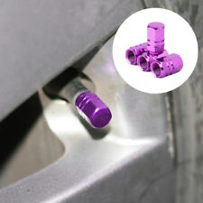 4Pc Purple Aluminum Tire Wheel Rims Stem Air Valve Caps Tyre Cover Car
