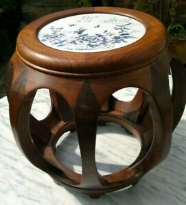 Vintage Chinese Huali Rosewood Barrel Side Table Stool with Porcelain Inset