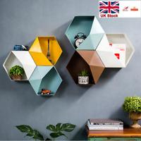 Regular Hexagon Storage Box With Half Lid Unique Wall Hanging Display Rack