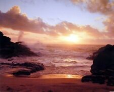 Coastal Sunrise on Ocean Beach Landscape Wall Decor Art Print Poster (16x20)