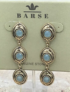 Barse Peer Earrings- Faceted Aventurine- Bronze- New With Tags