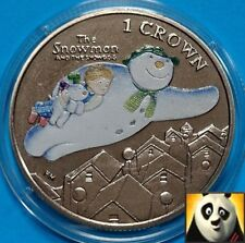 RARE 2014 ISLE OF MAN Christmas 1 One Crown Snowman and Dog Coloured Unc Coin