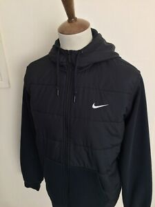 NIKE PADDED FRONT ZIP UP HOODED SWEAT SHIRT TOP SIZE XL BLACK