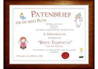 Patenbrief / Patenurkunde für den /die beste Taufpaten ** Als Dankeschön SÜSS!!