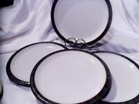 DENBY-LANGLY Stoneware JET STRIPES 4 Pc DINNER PLATES England EXCELLENT