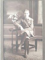 Edwardian Young Boy In Knickerbockers Cabinet Card Studio Photo Portrait