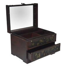 'Chinese Style' Wooden Mirror Jewellery/Make Up Accessory Storage Box