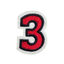 Red Number 3 (Iron on) Embroidery Applique Patch Sew Iron Badge