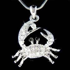 w Swarovski Crystal Ocean Beach Wedding Crab zodiac Sign Cancer Pendant Necklace