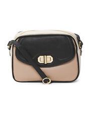 Emma Fox Black / Blush Colorblock Leather Camera Cross Body Handbag NWT