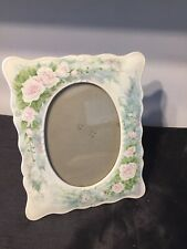 Vintage China Photo Frame Pink Cabbage Roses Shabby Chic