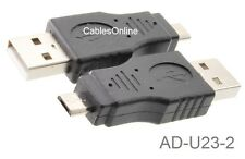 2-Pack USB 2.0 A-Type Male to Micro-B Male Adapter, CablesOnline AD-U23-2