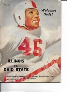 1946 Illinois-Ohio State Program Illini Cruise Past Buckeyes Headed for Roses!!