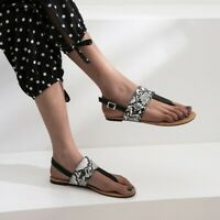 00cded3d365a Fashion Women s Flats Thong Sandals Snake Print Flip Flops Buckle Casual  Shoes